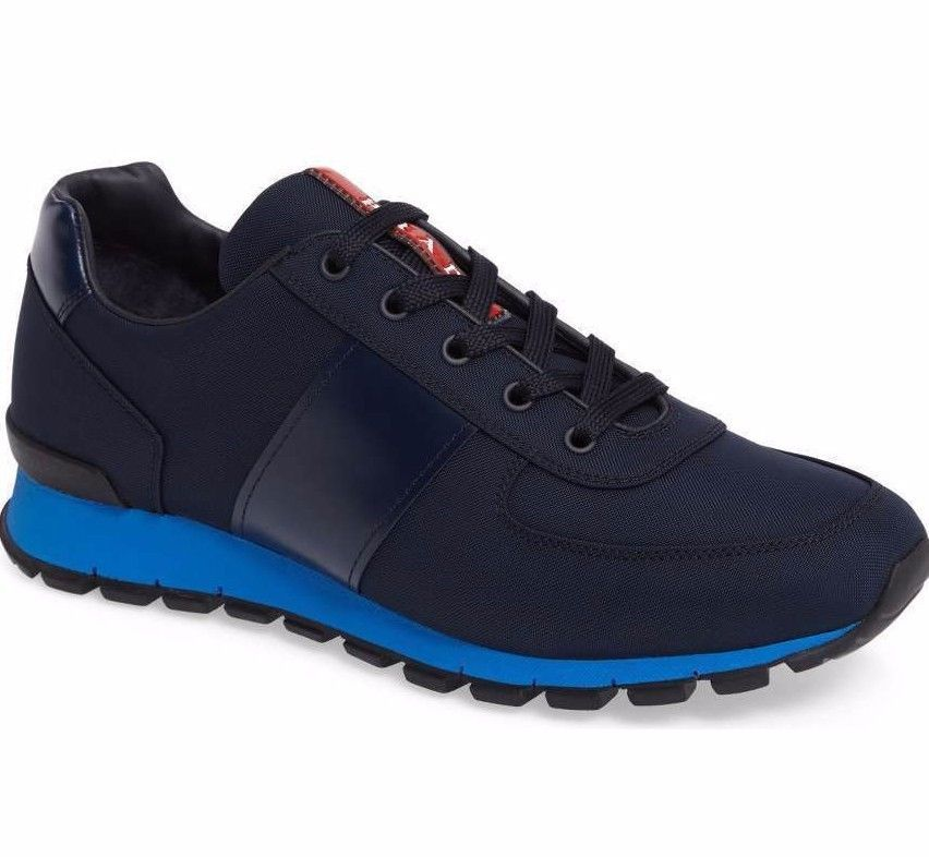 New Prada Mens Blue Spazzolato Leather Nylon Trainer Runner Sneakers Shoes  12  Prada  FashionSneakers d96ca0247b
