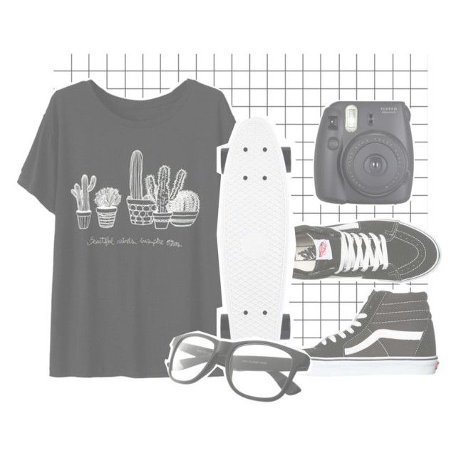 """""""grid grunge"""" by obviouslyfluffi ❤ liked on Polyvore featuring Vans and Fuji"""