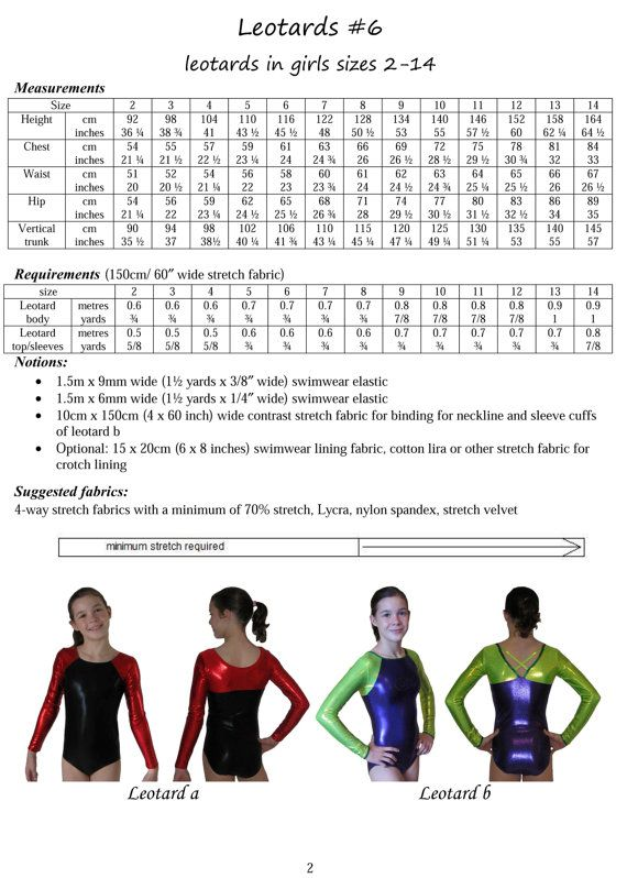 Leotards 6 pdf sewing pattern gymnastics leotards by tumblentwirl ...