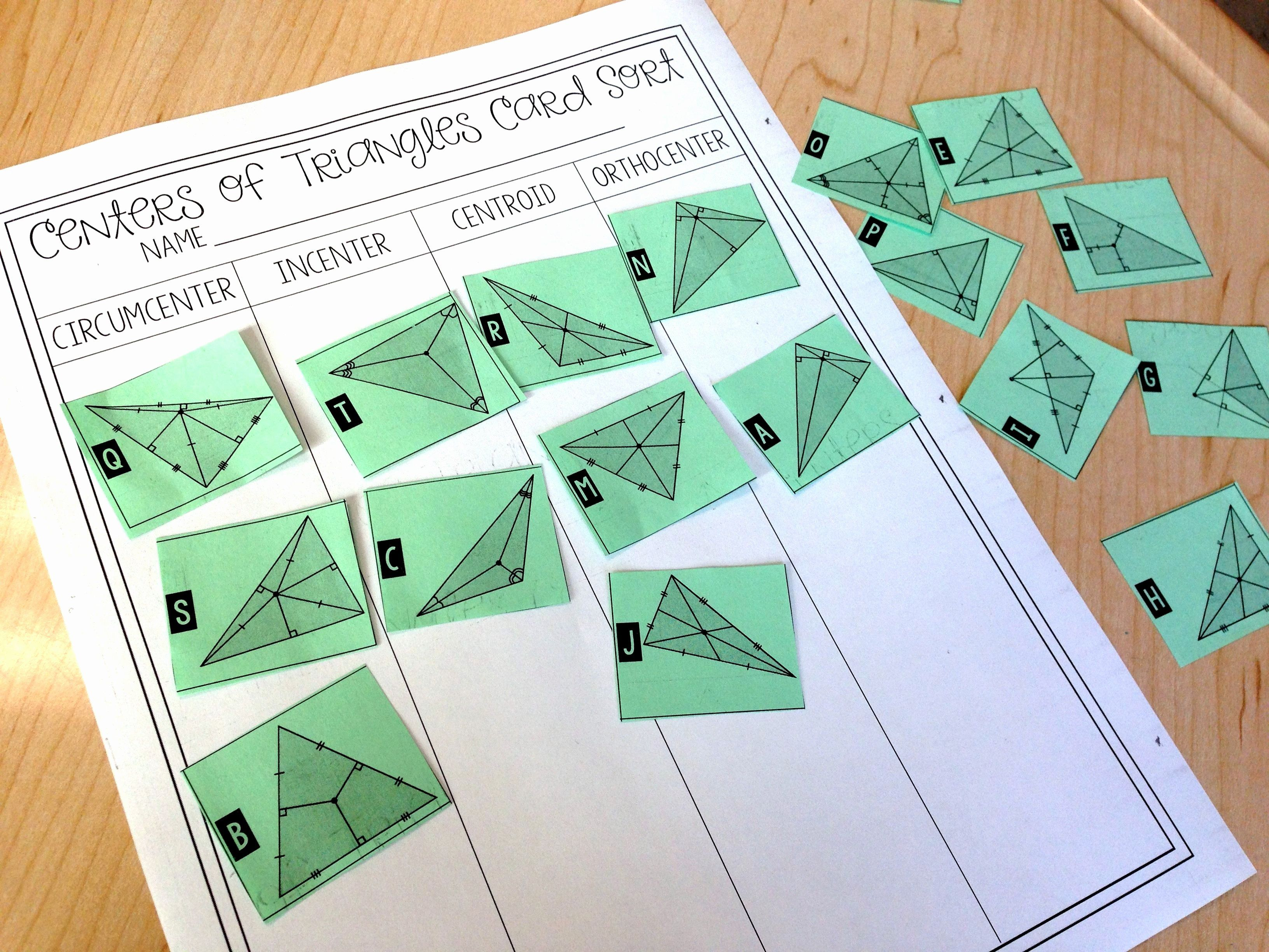 Centers Of Triangles Worksheet Best Of Centers Of