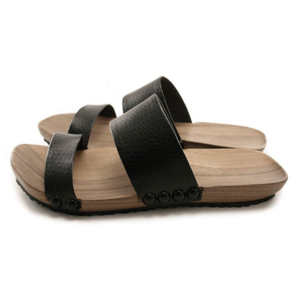 7c54b60687e9 Mens Mohop Handmade Wood-Sole Slide-Style Sandals. I would sport these.