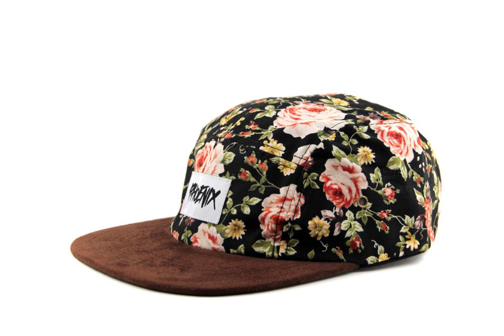 9ec17fa5c77 Phoenix Black Beauty II 5 Panel Cap Hat Supreme Blumenmuster Five Rose  Flower