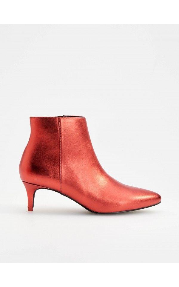 Botki W Metalicznym Kolorze Buty Czerwony Reserved Metallic Ankle Boots Boots Shoes