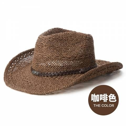 Summer straw cowboy hat for women UV wide brim sun hats beach wear ... efd80d217817