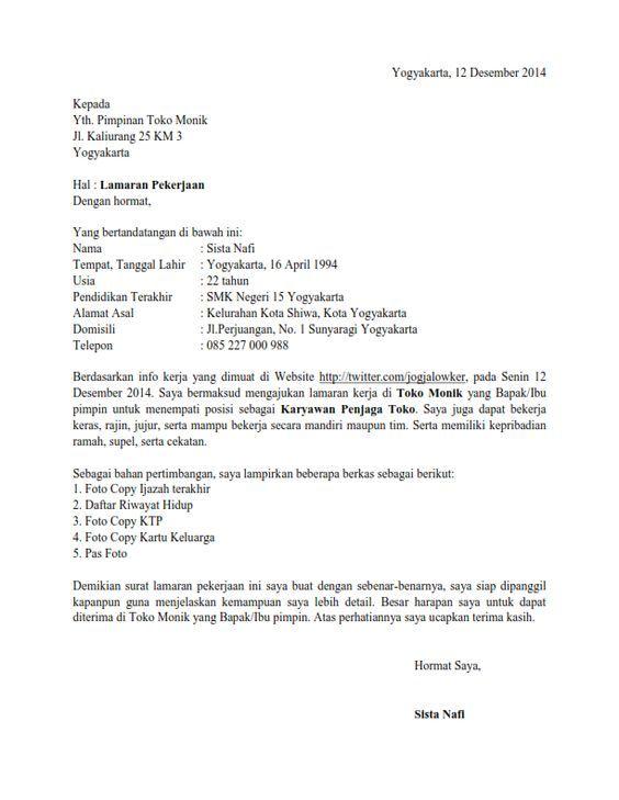Contoh Surat Lamaran Kerja di Toko