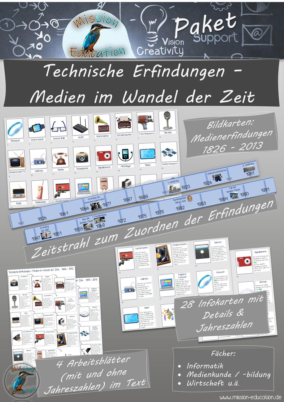 Technische Erfindungen Medien Im Wandel Der Zeit Mit Zeitstrahl Und 28 Bild Und Infokarten Medienbildung Informatik Unterrichtsmaterial Im Fach Informa In 2020 Informatik Unterrichtsmaterial Bildkarten