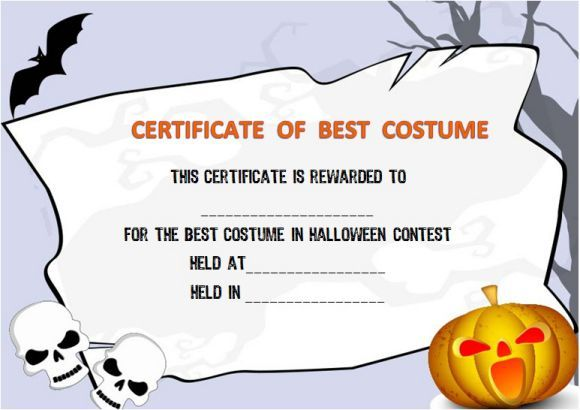 Halloween Costume Award Certificate Template Halloween Costume