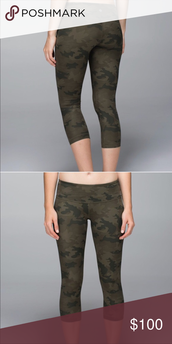 3da154fb5c Lululemon Camo WU Crop Name: Lululemon Wunder Under Crop Fabric: Luxtreme  Size: 4 Color: Camo Condition: GEUC- to be on safe side- no noticeable  flaws. ...