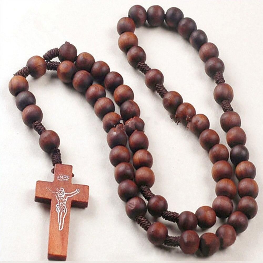 Retro Bead Beaded Long Chain Cross Jesus Religious Necklace Prayer Chain Jewelry