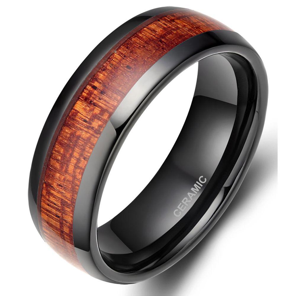 TIGRADE 8MM Black Red Wood Grain Ceramic Ring Men Wedding Band Classic Finger Jewelry Cool Male
