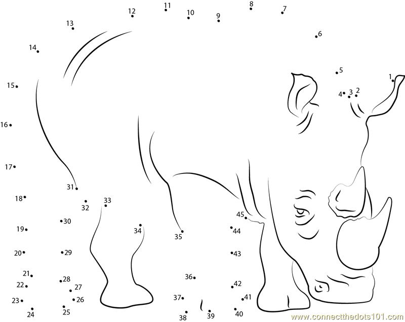 Download Or Print Two Horned Rhino Dot To Dot Printable