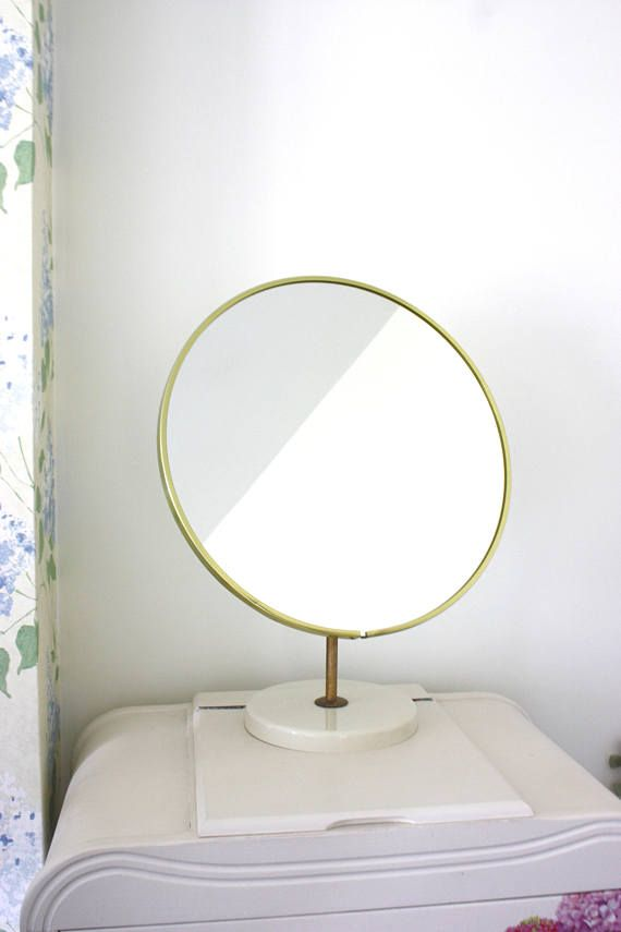 A Vintage Round 70s Schreiber Mirror With Decorative Tarnished Gold Rim.  Freestanding Vanity Dressing Table