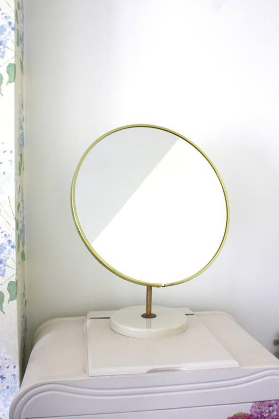 792ecd12269 A vintage round 70s Schreiber mirror with decorative tarnished gold rim.  Freestanding Vanity Dressing Table