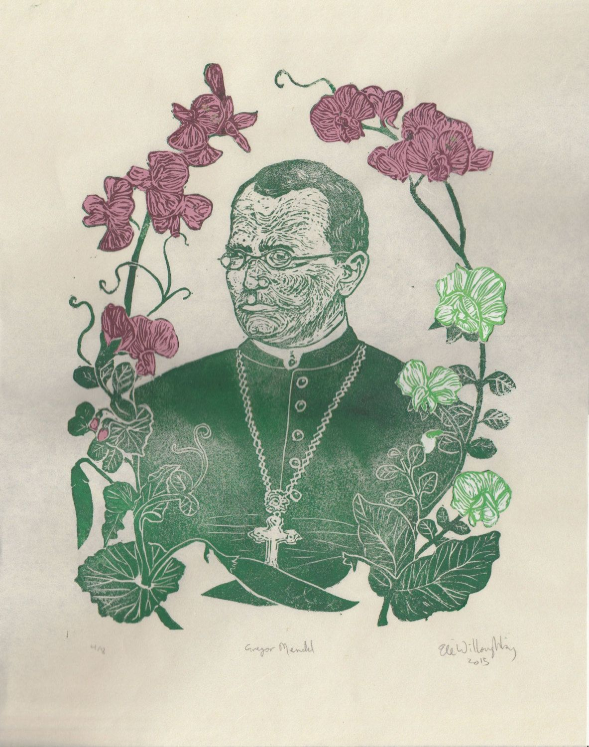 Gregor Mendel With His Pea Plants Portrait Founder Of