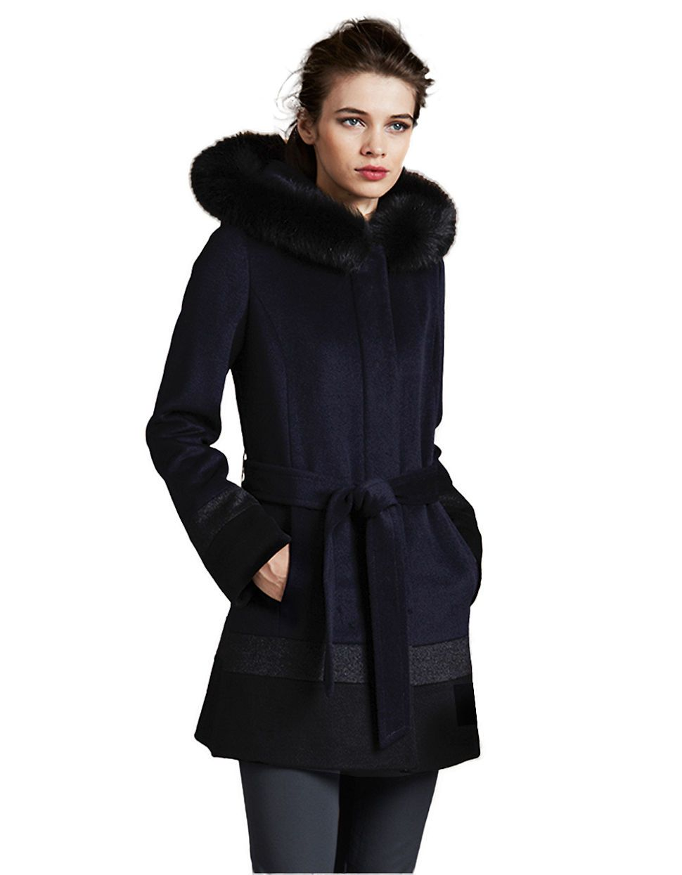 Colorblock Belted Wool Coat   Lord and Taylor