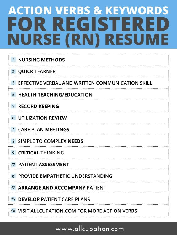 Action Verbs \ Keywords for Registered Nurse (RN) Resume - nurses resume