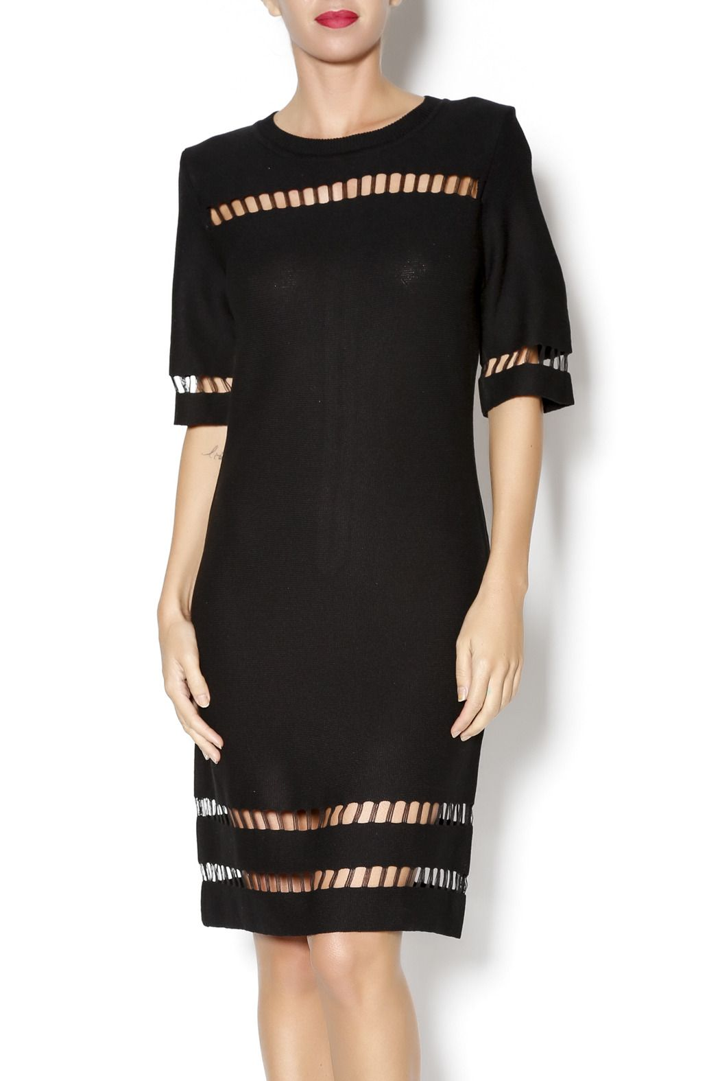 2052d9da7617 Black short sleeve sweater dress with cutouts and exposed back silver  zipper. Black Knit Cutout Dress by J.O.A.. Clothing - Dresses Clothing -  Sweaters ...