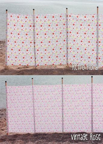 Fancy vintage-print windbreaks, which would also serve as visual barriers to help corral the dogs.