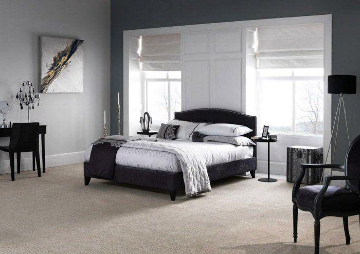 schlafzimmer grau stilvoll teppichboden schminktisch raffrollos ...