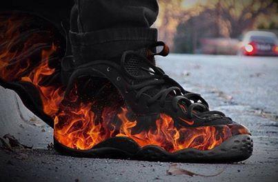 new styles 502b3 52939 Nike Foamposite Fire