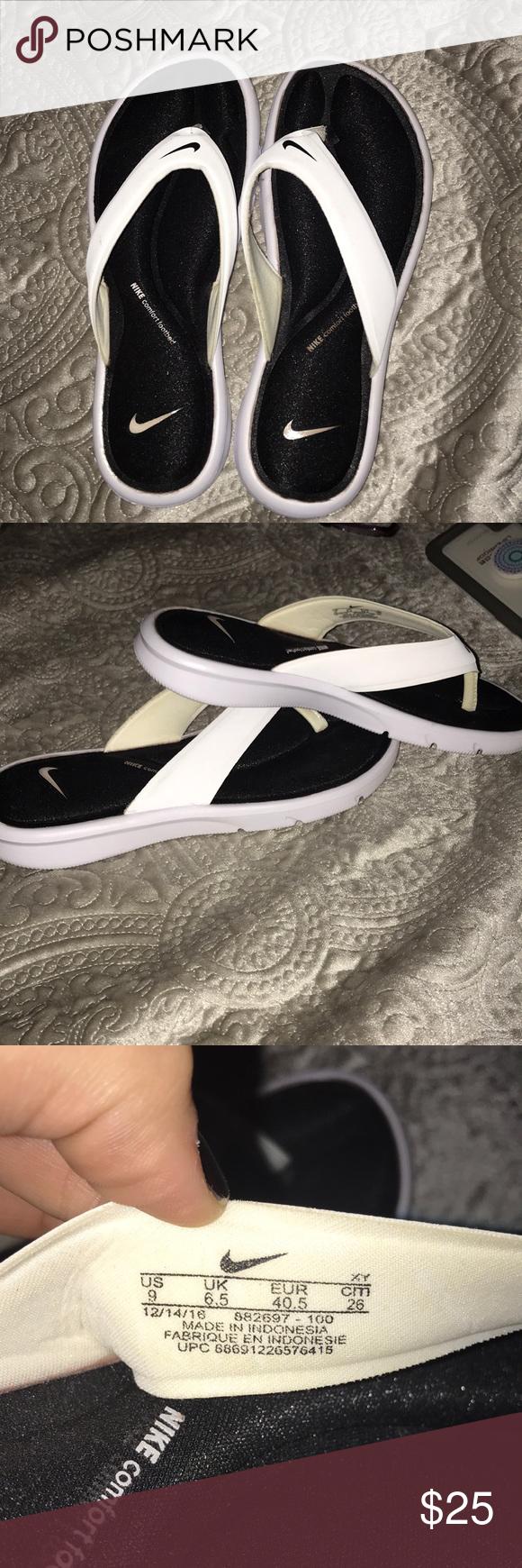 Escribe un reporte evitar resistirse  Nike comfort footbed flip flops | Black and white nikes, Black nikes, Flip  flops