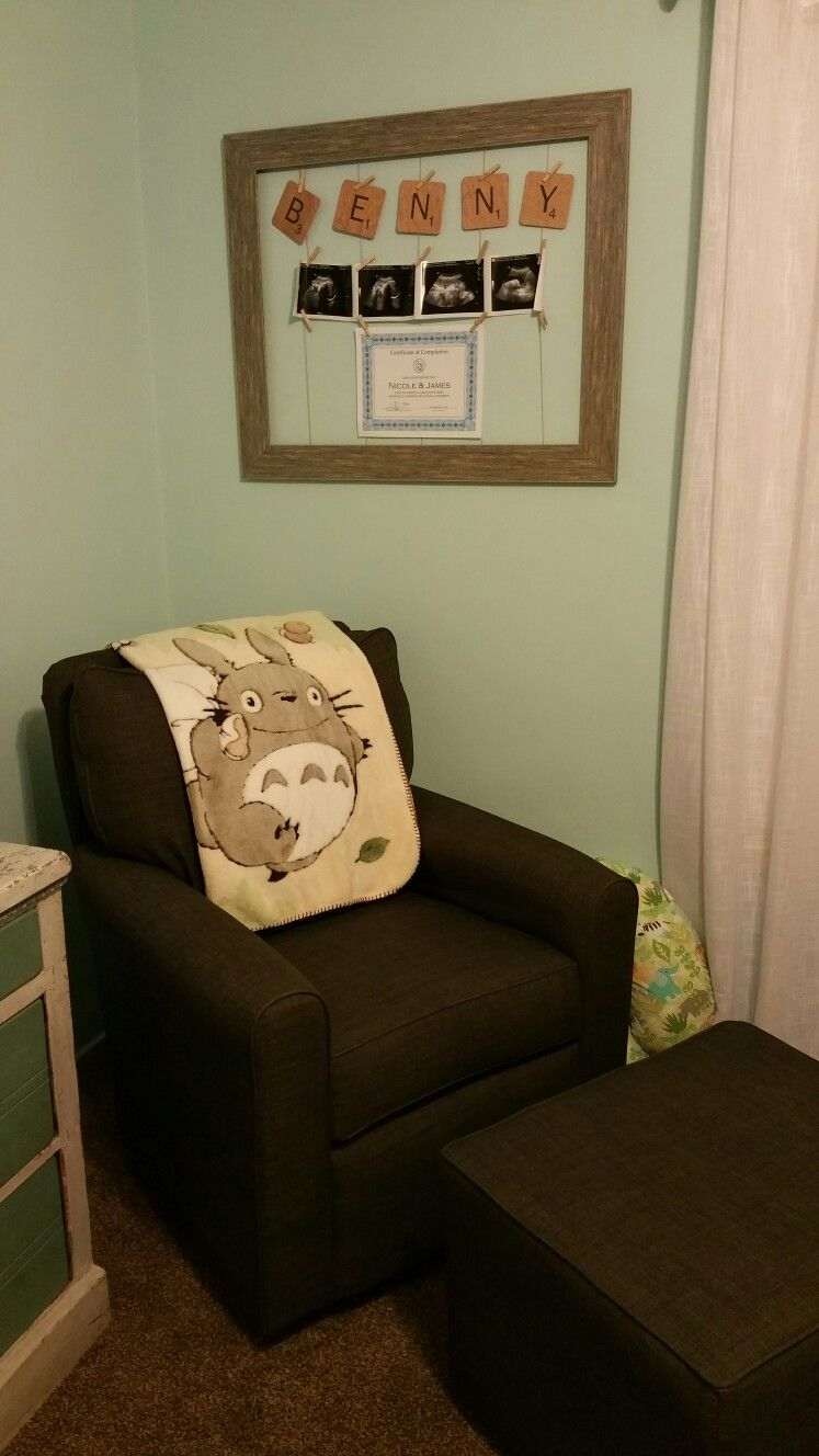 Totoro nursery. Blanket from Amazon. Rocking chair from