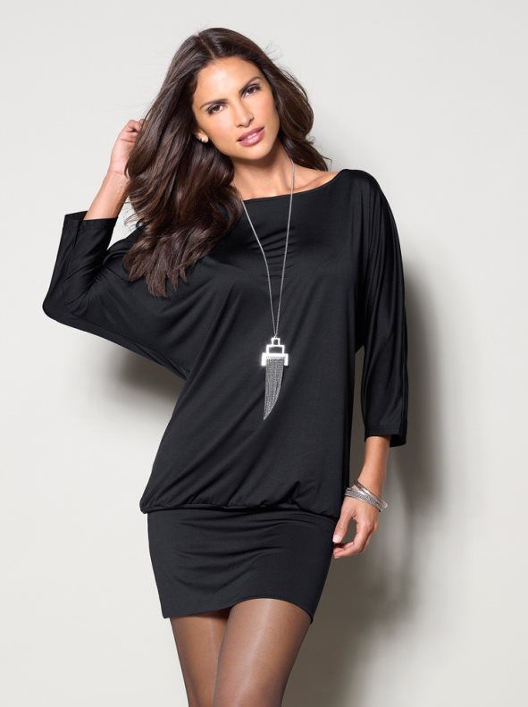 vestido negro de punto recogido de internet