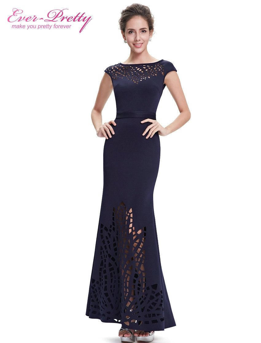 Evening dress ever pretty epnb women navy blue round neck robe