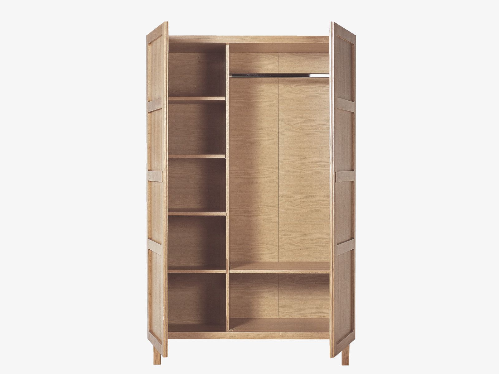 Radius Oak 2 Door Wardrobe With Hanging Rail And 5 Shelves 2 Door Wardrobe Shelves Hanging Rail