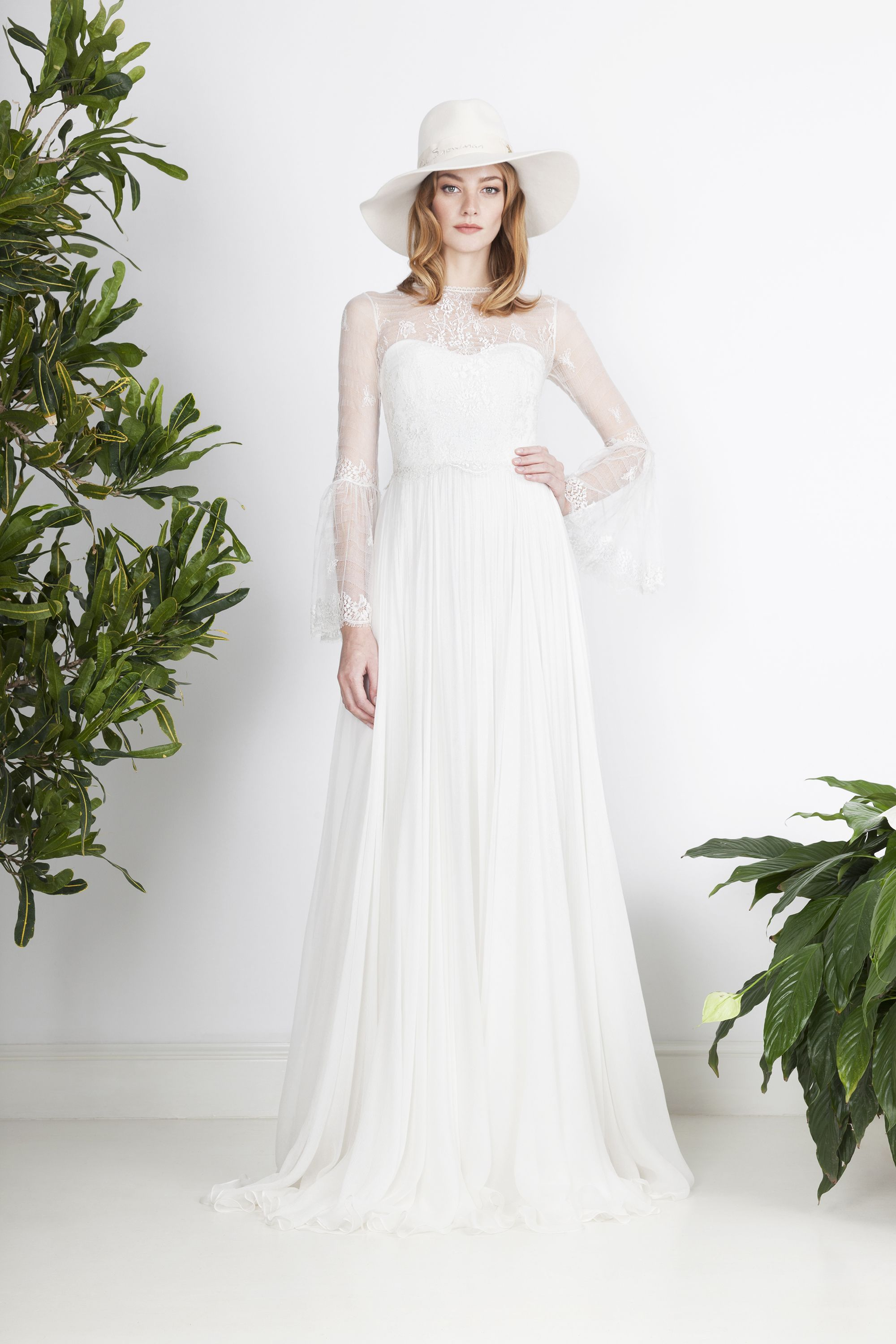 Boho style wedding dress of silk muslin with fine French lace top ...