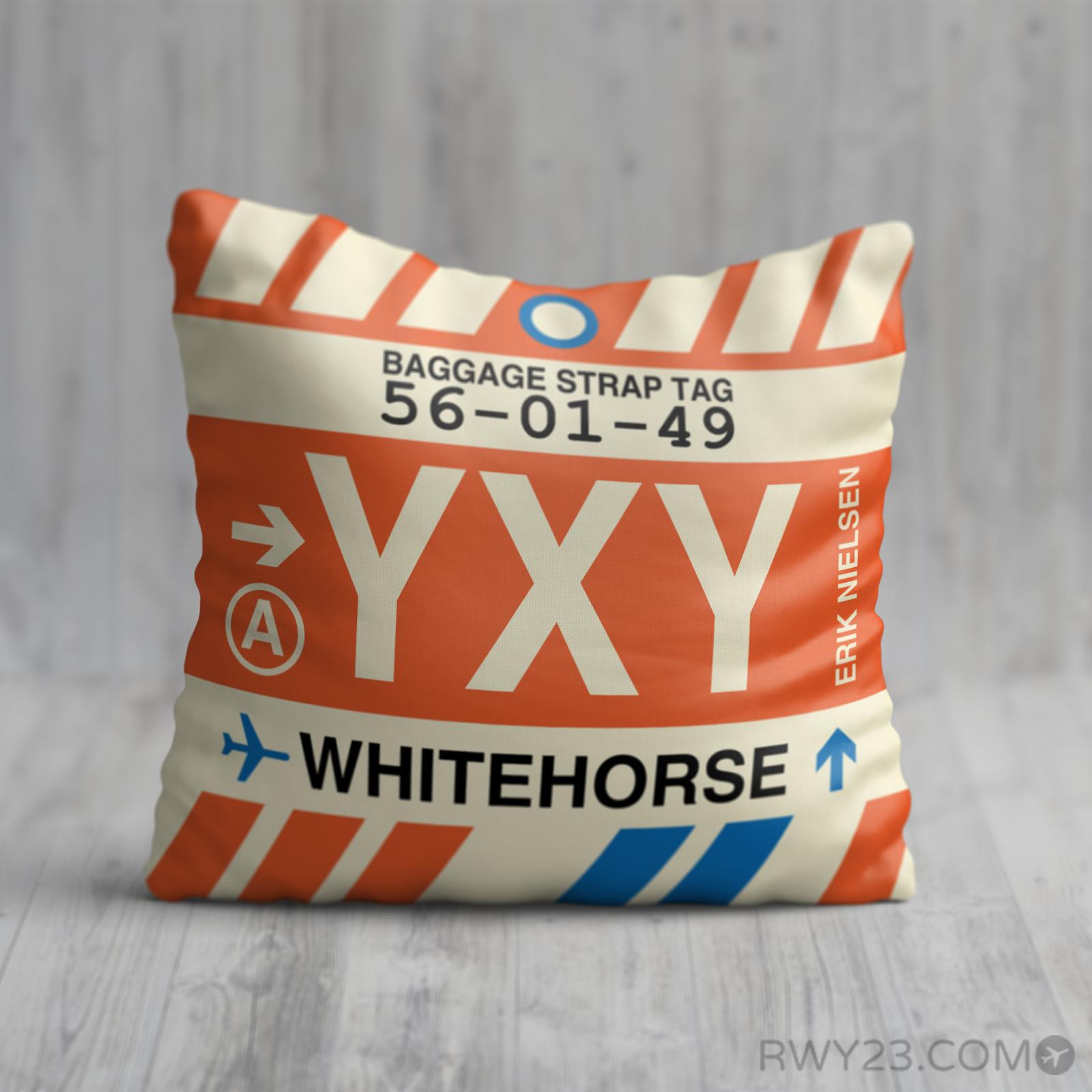 YXY Whitehorse Throw Pillow • Airport Code & Vintage