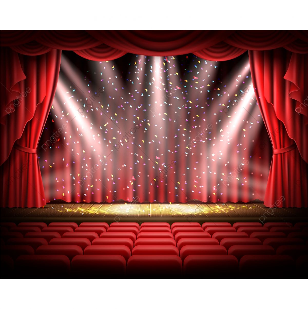Red Curtain And Empty Theatrical Scene Stage Red Curtain Png