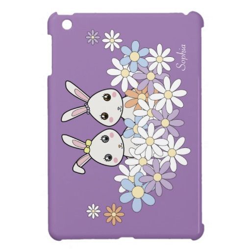 wholesale dealer a6909 112d1 Cute Bunnies Personalized iPad Mini Covers for Girls: Name Template ...