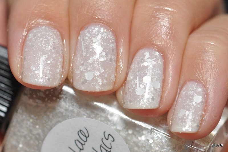 """Lynnderella """"Love, Lace and Lilacs"""" over Essie """"Marshmallow"""""""