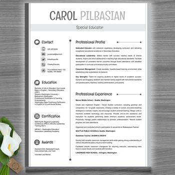 Teacher Resume Template (Clean) - EDITABLE with MS PowerPoint - resume template teacher