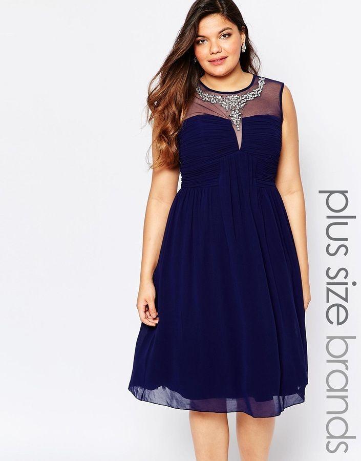 Little Mistress Plus Size Mesh Embellished Midi Dress ...