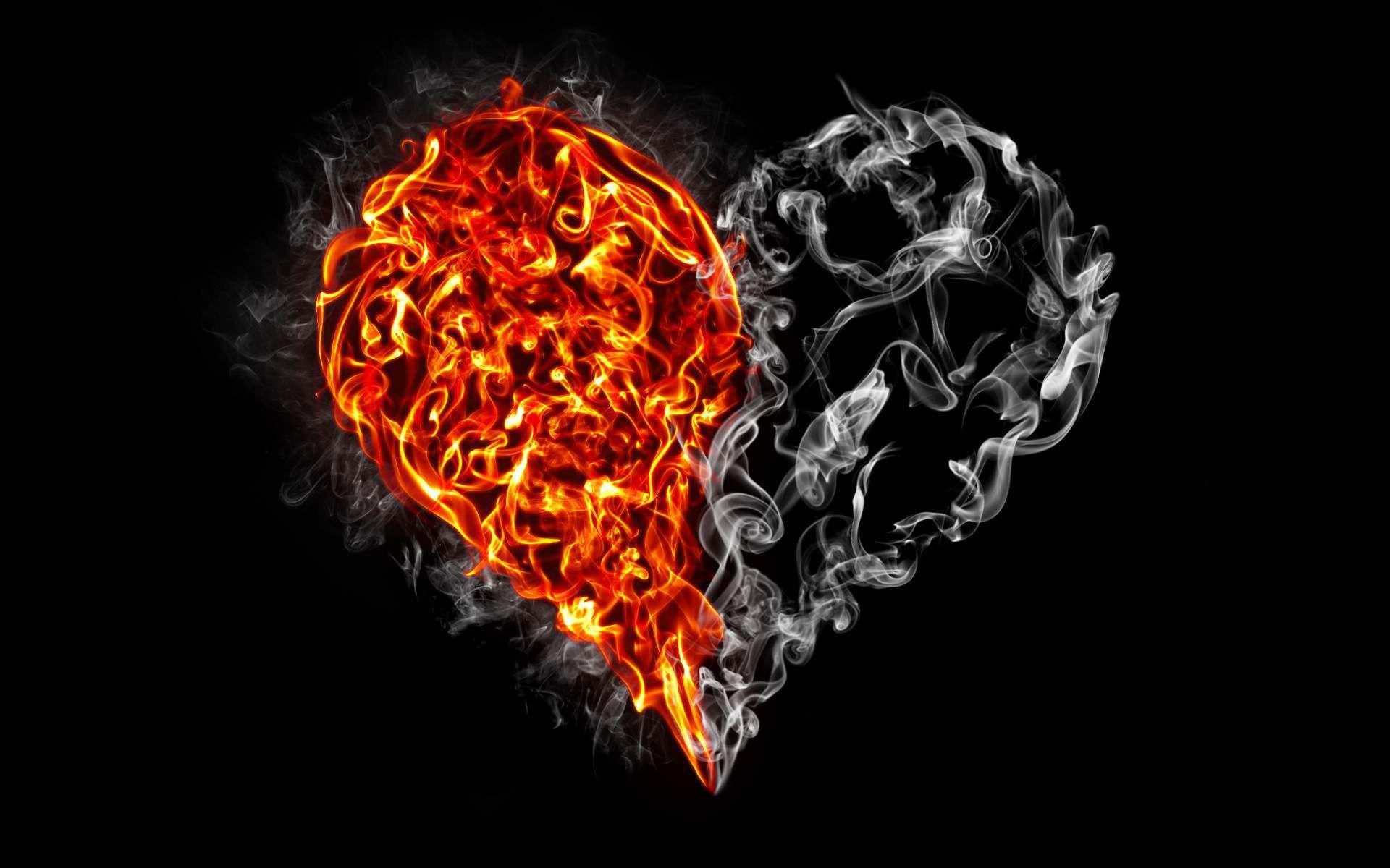 Smoke Heart And Fire Heart Art Wallpaper Gfxhive Love