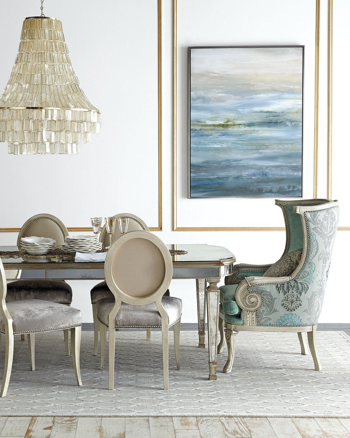 Lisandra Antqiued-Mirrored Round Dining Table | Round dining table