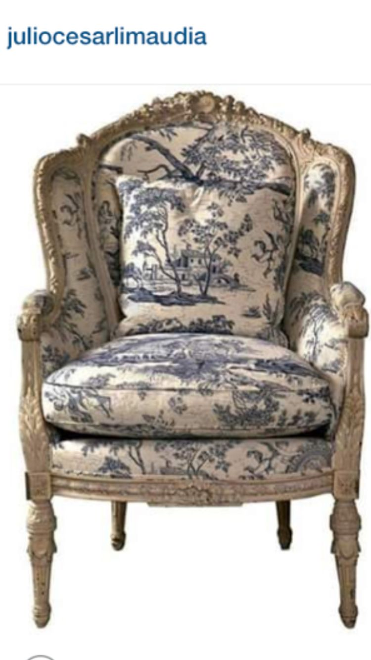 Super Blue Cream Toile Home Sweet Home In 2019 Bergere Caraccident5 Cool Chair Designs And Ideas Caraccident5Info