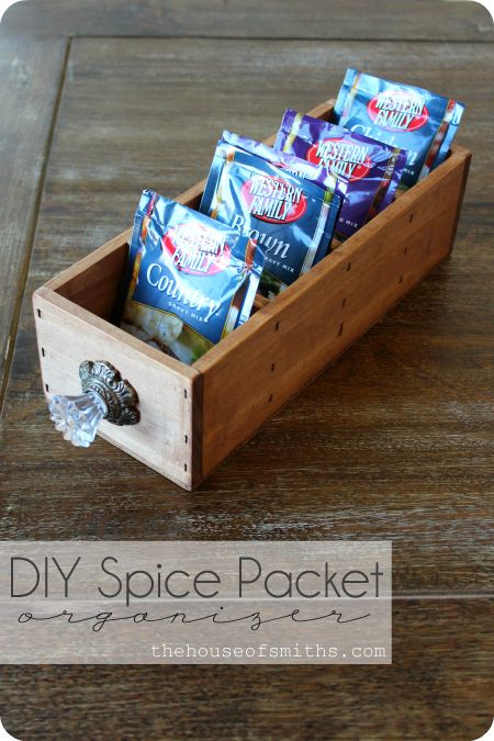 Diy Spice Packet Organizer And Other Wooden Crates For