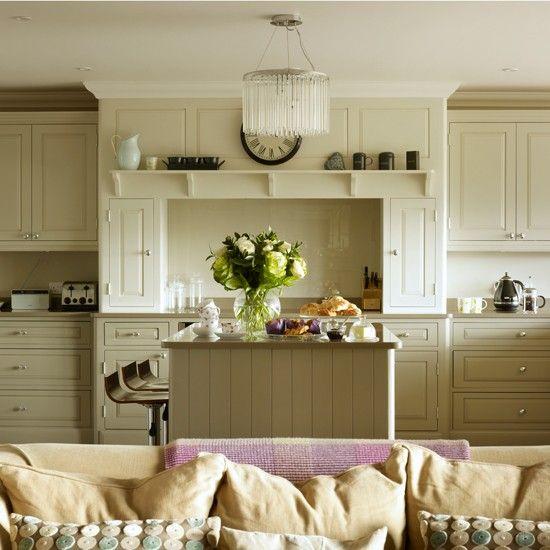 Unpainted Kitchens custom made kitchens Pale grey Shaker-style kitchen   Kitchen decorating   25 Beautiful Homes   Housetohome.co.uk
