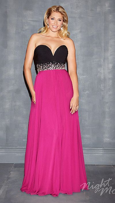 Night Moves 7137W Plus Size Deep Sweetheart Gown image