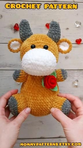 Photo of Crochet PATTERN toy Baby Bull.