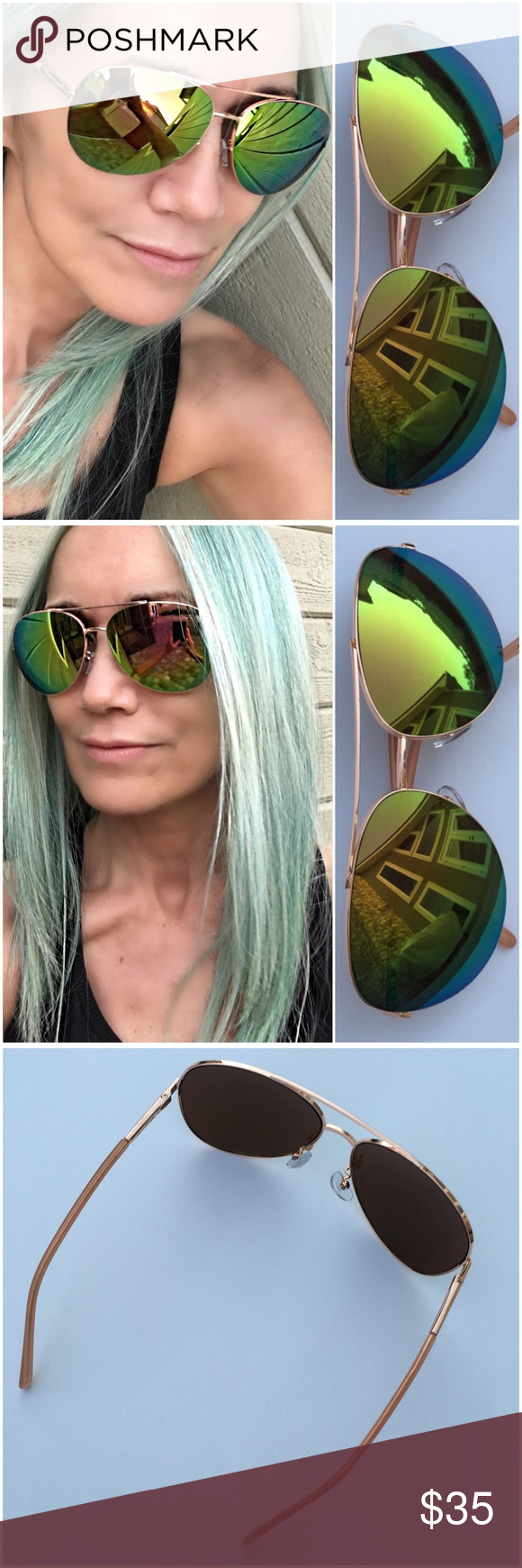 Tahari Aviator Sunglasses | Blue green, RC Lens and Rose