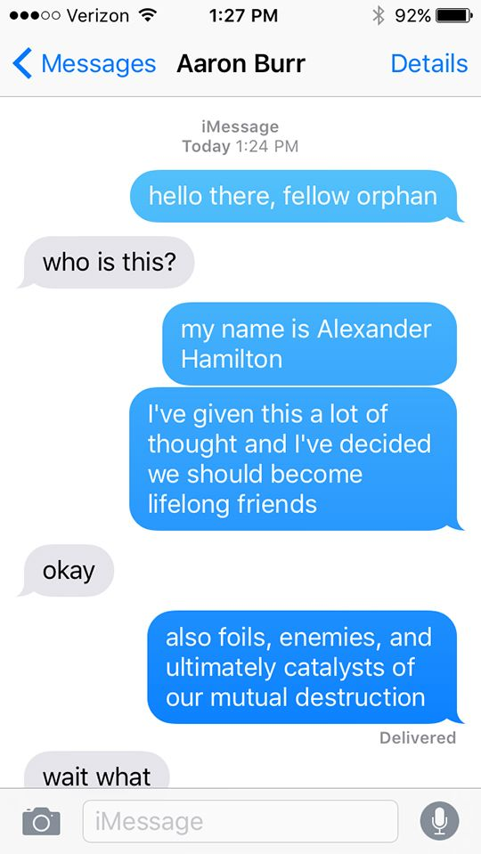 Hamilton As Told In A Series Of Texts Hamilton Funny Hamilton