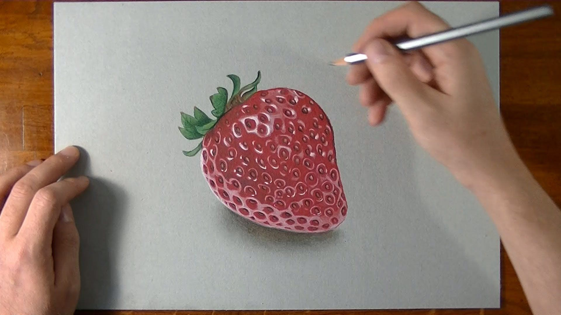 How I Draw A Strawberry 3d Illusion Drawing · 3d Pencil Drawingscolour  Pencil Drawingrealistic