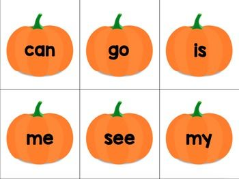 Free: Levels A-D sight words on pumpkin cards for a fun, seasonal spin on sight word practice! Spread all level A cards out across the table, or other levels depending on your group. Say each word aloud with your small guided reading groups, and the first student to slap the correct word card gets to keep it!