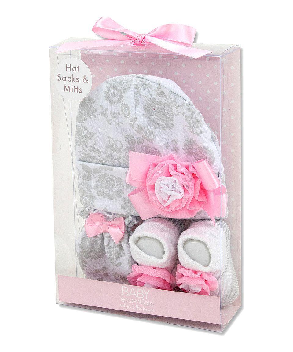 Pink   Gray Floral Beanie Set - Infant by Baby Essentials  zulilyfinds 5e07623c860