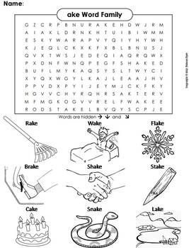 This Word Search On The Ake Word Family Also Doubles As A Coloring