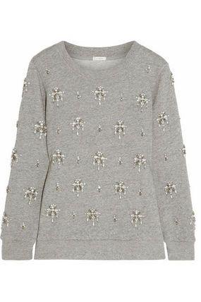 ☆NEW☆ J. CREW Crystal-embellished cotton sweatshirt
